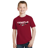 Youth Cardinal T Shirt-Temple Football Over Football