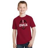 Youth Cardinal T Shirt-Temple University Owls Football Vertical