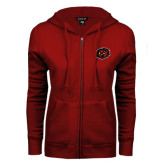 ENZA Ladies Cardinal Fleece Full Zip Hoodie-Owl Head