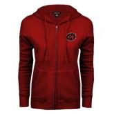 ENZA Ladies Cardinal Fleece Full Zip Hoodie-Owl Head