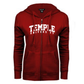 ENZA Ladies Cardinal Fleece Full Zip Hoodie-Arched Temple University