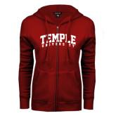ENZA Ladies Cardinal Fleece Full Zip Hoodie-Arched Temple University