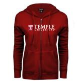 ENZA Ladies Cardinal Fleece Full Zip Hoodie-University Mark