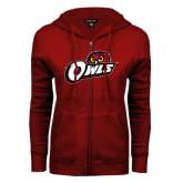 ENZA Ladies Cardinal Fleece Full Zip Hoodie-Owls w/Owl Head