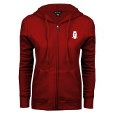 ENZA Ladies Cardinal Fleece Full Zip Hoodie-Perched Owl T