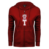 ENZA Ladies Cardinal Fleece Full Zip Hoodie-Vintage Owl Atop T