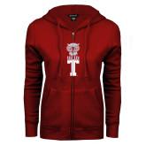 ENZA Ladies Cardinal Fleece Full Zip Hoodie-Vintage Owl Atop T
