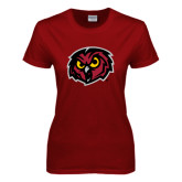 Ladies Cardinal T Shirt-Owl Head