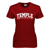 Ladies Cardinal T Shirt-Arched Temple University