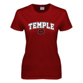 Ladies Cardinal T Shirt-Arched Temple w/ Owl Head