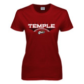Ladies Cardinal T Shirt-Temple Football Over Football