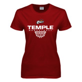 Ladies Cardinal T Shirt-Temple Basketball Stacked w/Net Icon