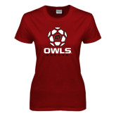 Ladies Cardinal T Shirt-Owls Soccer Geometric Ball