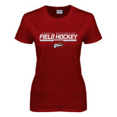 Ladies Cardinal T Shirt-Temple University Field Hockey Stencil