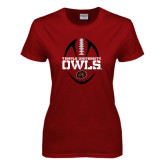 Ladies Cardinal T Shirt-Temple University Owls Football Vertical