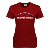 Ladies Cardinal T Shirt-Temple Owls Football Under Ball