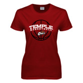 Ladies Cardinal T Shirt-Temple Basketball Arched w/Ball
