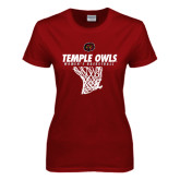 Ladies Cardinal T Shirt-Temple Owls Womens Basketball w/Net