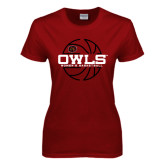Ladies Cardinal T Shirt-Owls Womens Basketball w/Lined Ball