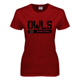 Ladies Cardinal T Shirt-Owls Basketball Stencil w/Bar