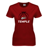 Ladies Cardinal T Shirt-Temple Basketball Stacked w/Contours