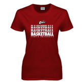 Ladies Cardinal T Shirt-Temple University Basketball Repeating