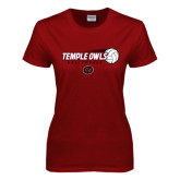 Ladies Cardinal T Shirt-Temple Owls Volleyball w/Flying Ball