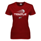 Ladies Cardinal T Shirt-Temple Lacrosse Modern