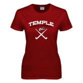 Ladies Cardinal T Shirt-Temple Field Hockey Crossed Sticks