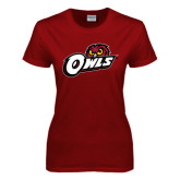 Ladies Cardinal T Shirt-Owls w/Owl Head