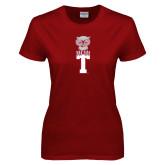 Ladies Cardinal T Shirt-Vintage Owl Atop T