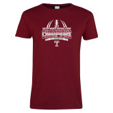 Ladies Cardinal T Shirt-Bad Boy Mowers Gasparilla Bowl Champions - Gradient