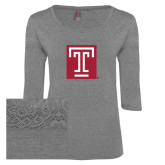 Ladies Grey Heather Tri Blend Lace 3/4 Sleeve Tee-Box T
