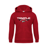 Youth Cardinal Fleece Hoodie-Temple Football Over Football
