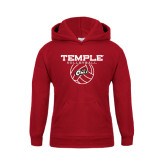 Youth Cardinal Fleece Hoodie-Temple Volleyball Stacked