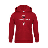 Youth Cardinal Fleece Hoodie-Temple Owls Lacrosse w/Lacrosse Stick