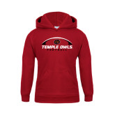 Youth Cardinal Fleece Hoodie-Temple Owls Football Under Ball