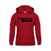 Youth Cardinal Fleece Hoodie-Temple Football Stacked w/Bar