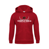 Youth Cardinal Fleece Hoodie-Temple Owls Football w/Field