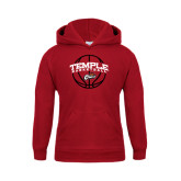 Youth Cardinal Fleece Hoodie-Temple Basketball Arched w/Ball