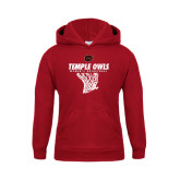 Youth Cardinal Fleece Hoodie-Temple Owls Womens Basketball w/Net