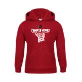 Youth Cardinal Fleece Hoodie-Temple Owls Womens Basketball w/Net