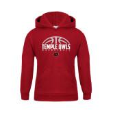 Youth Cardinal Fleece Hoodie-Temple Owls Basketball Half Ball