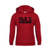 Youth Cardinal Fleece Hoodie-Owls Basketball Stencil w/Bar