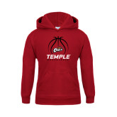 Youth Cardinal Fleece Hoodie-Temple Basketball Stacked w/Contours