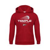 Youth Cardinal Fleece Hoodie-Temple Lacrosse Modern