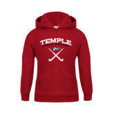 Youth Cardinal Fleece Hoodie-Temple Field Hockey Crossed Sticks