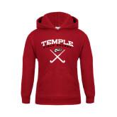 Youth Cardinal Fleece Hoodie-Temple Field Hockey Crossed Sticks