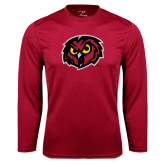Syntrel Performance Cardinal Longsleeve Shirt-Owl Head