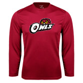 Performance Cardinal Longsleeve Shirt-Owls w/Owl Head